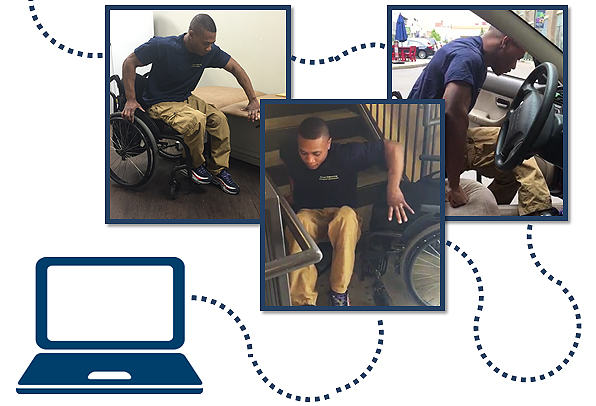 Wheelchair user demonstrating transfers from his wheelchair to a mat table, the ground to his wheelchair and his wheelchair to a car